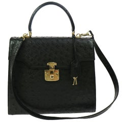 Gucci Black Ostrich Top Handle Satchel Kelly Style Shoulder Flap Bag