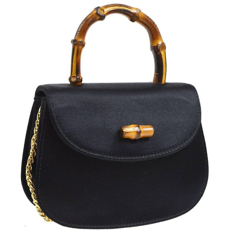Gucci Black Satin Top Handle Satchel Chain Kelly Style Evening Shoulder Flap Bag