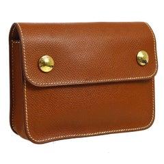 Hermes Cognac Leather Whipstick Flap Fanny Pack Waist Belt Bag