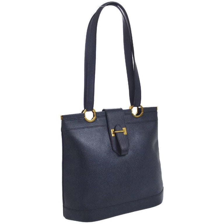 Hermes Dark Blue Gold Hardware Slip Closure Travel Carryall Tote Shoulder Bag For Sale
