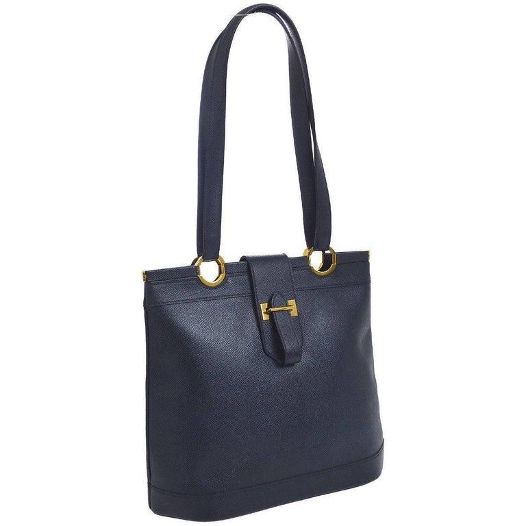 Hermes Dark Blue Gold Hardware Slip Closure Travel Carryall Tote Shoulder Bag