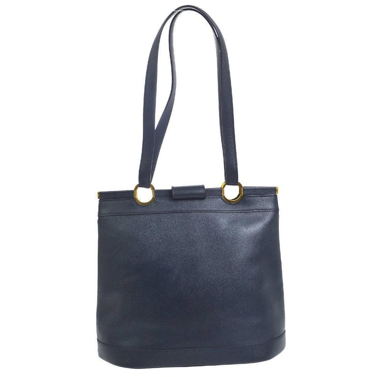 Hermes Dark Blue Gold Hardware Slip Closure Travel Carryall Tote Shoulder Bag  Leather Gold tone hardware Slip closure Made in France Shoulder strap drop 10