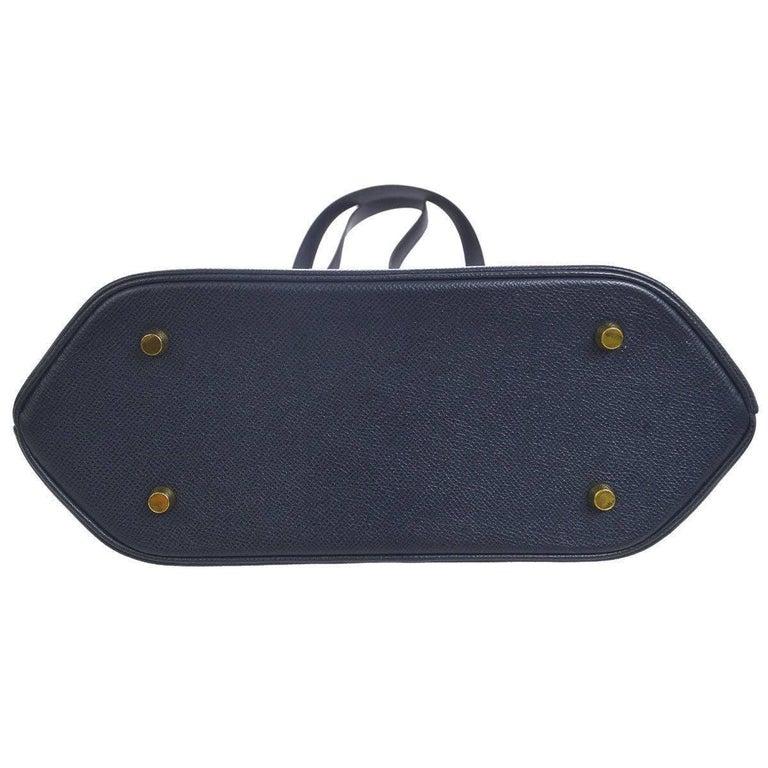 Black Hermes Dark Blue Gold Hardware Slip Closure Travel Carryall Tote Shoulder Bag For Sale