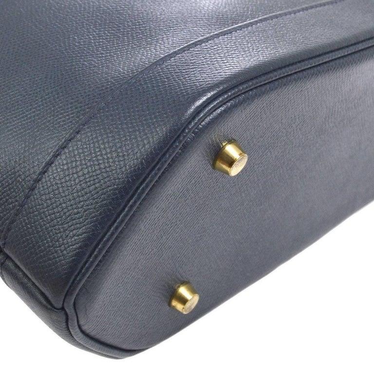 Hermes Dark Blue Gold Hardware Slip Closure Travel Carryall Tote Shoulder Bag In Excellent Condition For Sale In Chicago, IL