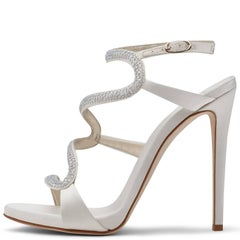Giuseppe Zanotti New White Satin Crystal Snake Evening Sandals Heels in Box