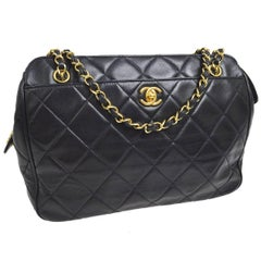 Chanel Black Lambskin Leather Quilted Carryall Evening Tote Shoulder Bag