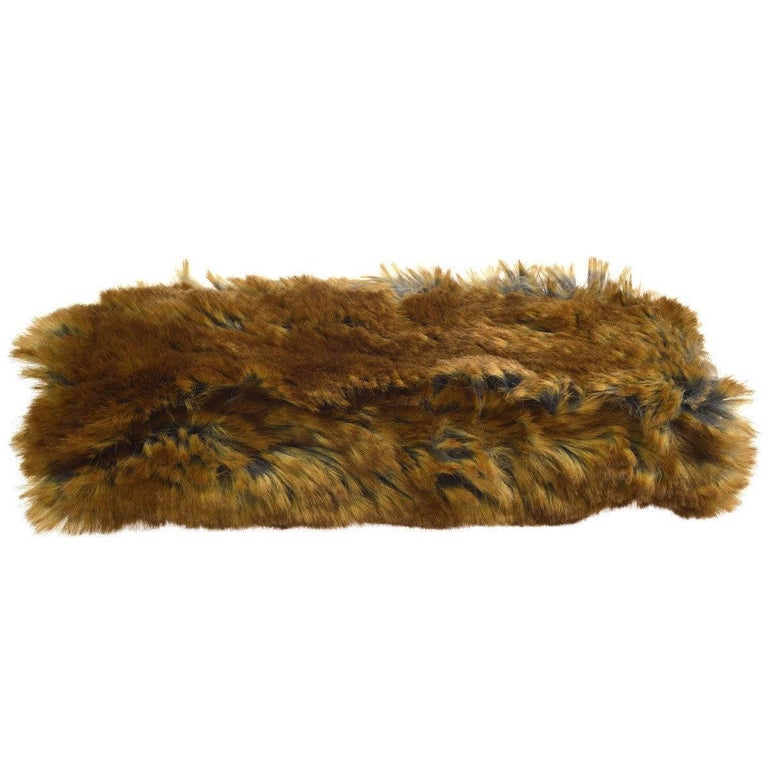 Women's Chanel Cognac Brown Tweed Fur Envelope 2 in 1 Evening Chain Clutch Shoulder Bag For Sale