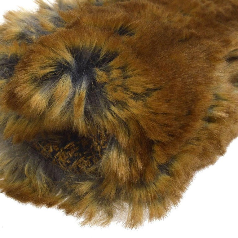 Chanel Cognac Brown Tweed Fur Envelope 2 in 1 Evening Chain Clutch Shoulder Bag For Sale 1