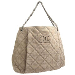 Chanel Nude Tan Suede Leather Silver Carryall Hobo Tote Shoulder Bag