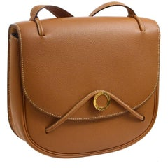 Hermes Rare Cognac Leather Gold Logo Saddle Crossbody Shoulder Flap Bag