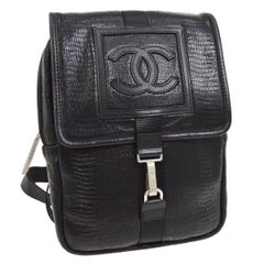Chanel Black Leather Men's Women's Sling Back Travel Crossbody Shoulder Bag