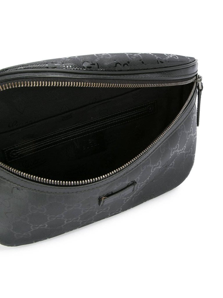 Gucci Black Leather GG Logo Men's / Women's Fanny Pack Waist Bag For Sale 2
