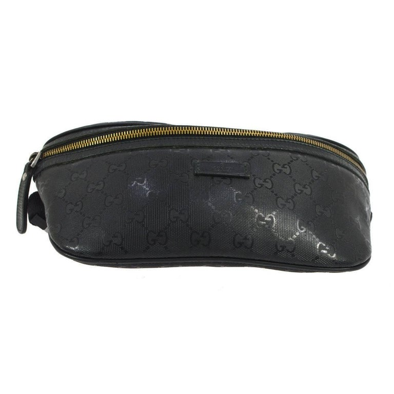 65db8cb7256 Women s or Men s Gucci Black Leather GG Logo Men s   Women s Fanny Pack  Waist Bag For