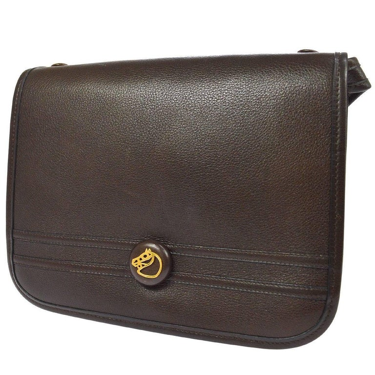 Hermes Chocolate Gold Charm Saddle Crossbody Shoulder Flap Bag