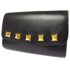 Hermes Black Leather Gold Studded 2 in 1 Clutch Evening Shoulder Flap Bag
