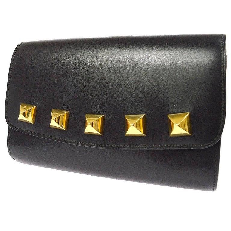 Hermes Black Leather Gold Studded 2 in 1 Clutch Evening Shoulder Flap Bag