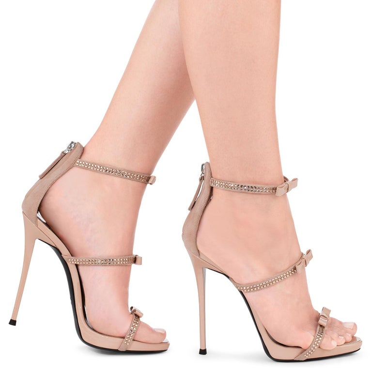24aeab250ac Giuseppe Zanotti Nude Blush Suede Crystal Evening Sandals Heels