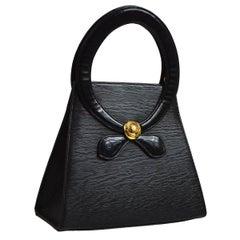 Chloe Black Epi Leather Gold 2 in 1 Top Handle Satchel Shoulder Bag