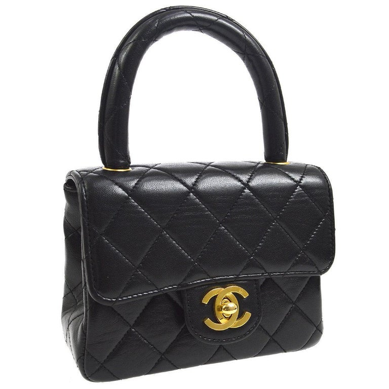 Chanel Black Leather Lambskin Small Party Evening Top Handle Satchel Flap  Bag For Sale 6f24a32ca9541