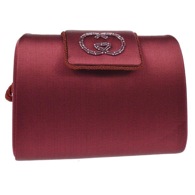 Gucci Burgundy Wine 2 in 1 Evening Shoulder Box Flap Clutch Bag in Box