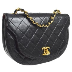 Chanel Vintage  Black Lambskin Semi Circle Small Evening Shoulder Flap Bag