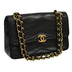 Chanel Vintage Black Small Square Cross Leather Evening Shoulder Flap Bag