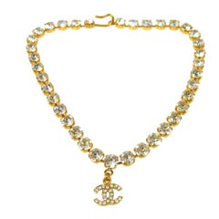 Chanel Vintage Gold Charm Rhinestone Evening Choker Necklace