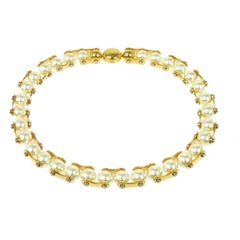 Louis Vuitton Gold Metal Pearl Chain Link Evening Choker Necklace in Box