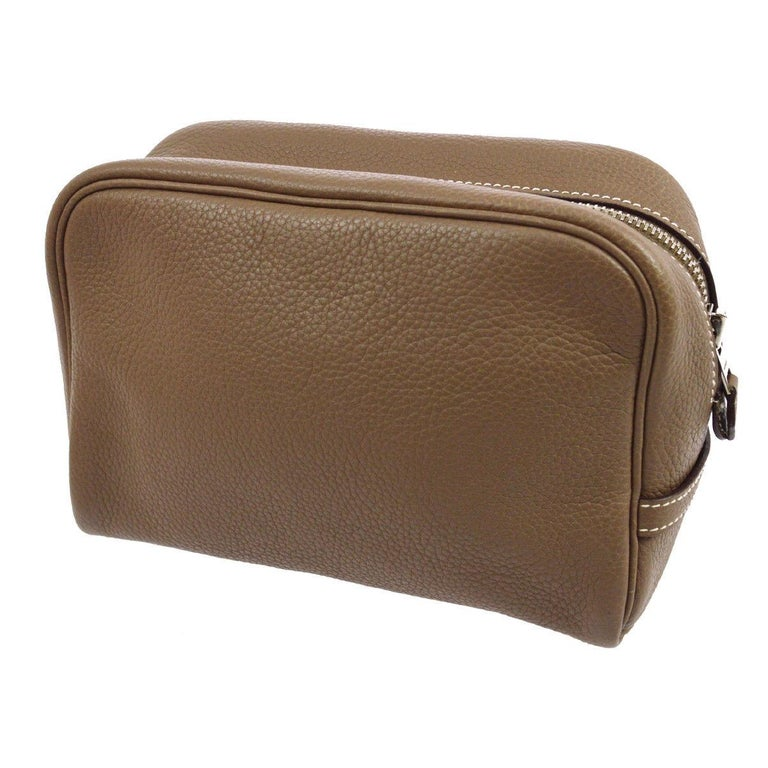 Hermes Leather Taupe Men's Women's Clutch Overnight Toiletry Travel Bag