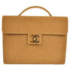 Chanel Vintage Cognac Tan Canvas Large Charm Top Handle Business Flap Bag