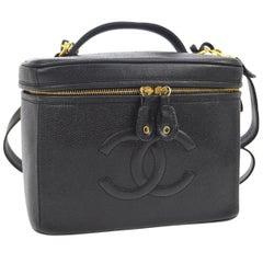 Chanel Black Caviar Leather 2 in 1 Top Handle Satchel Travel Vanity Shoulder Bag
