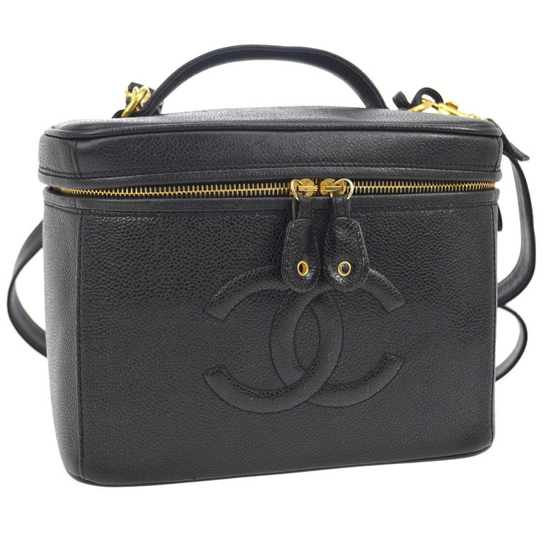 Chanel Black Caviar Leather 2 in 1 Top Handle Satchel Travel Vanity Shoulder Bag