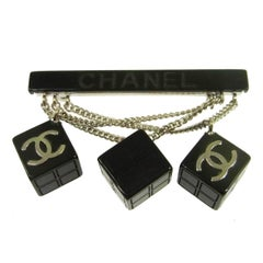 Chanel Black Chain Cube Dice Charms Evening Lapel Pin Brooch