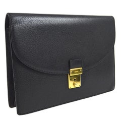 Gucci Black Leather Envelope Flip Lock Evening Clutch Wristlet Flap Bag