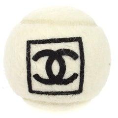 Chanel White Black Novelty Tennis Ball