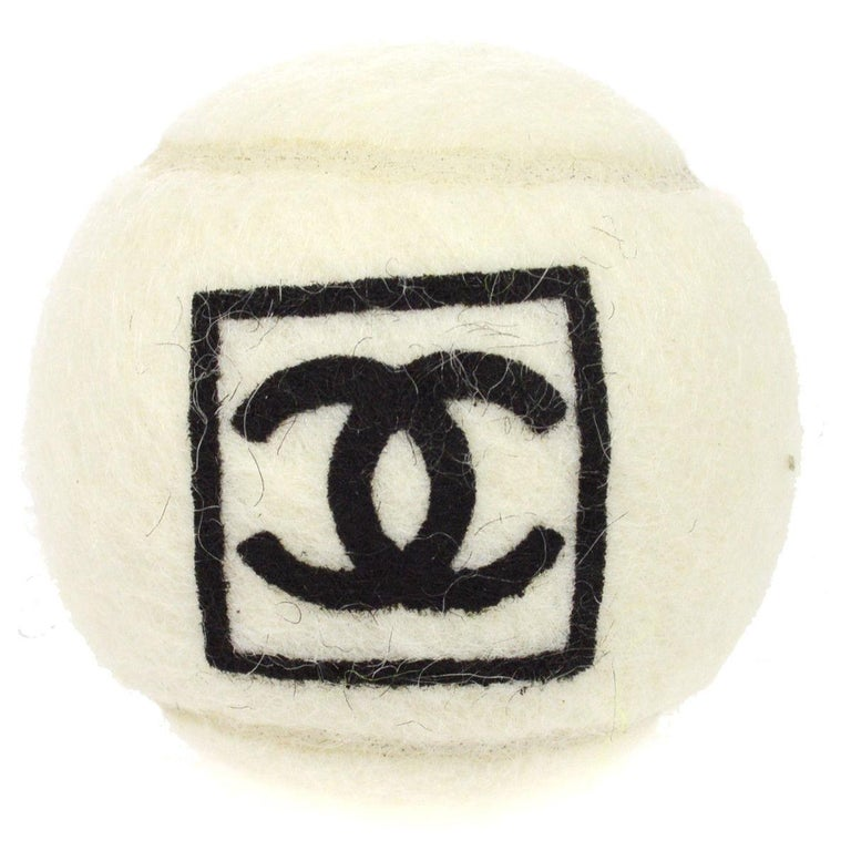 Chanel White Black Novelty Tennis Ball For Sale