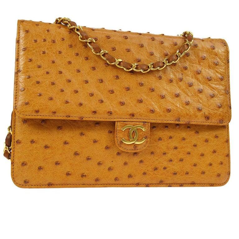 Chanel Rare Exotic Cognac Ostrich Leather Gold Single Evening Shoulder Flap Bag