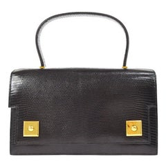 Hermes Black Lizard Leather Evening Gold Stud Top Handle Satchel Kelly Style Bag
