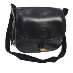 Hermes Black Leather Wood Toggle Shoulder Flap Saddle Bag