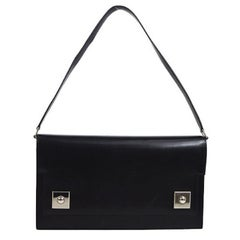 Hermes Black Leather Silver Stud 2 in 1 Evening Clutch Shoulder Flap Bag