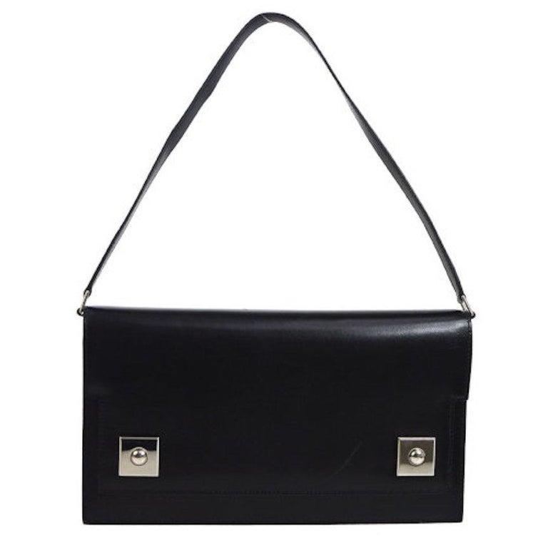 Hermes Black Leather Silver Stud 2 in 1 Evening Clutch Shoulder Flap Bag