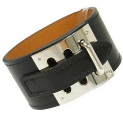 Hermes Black Leather Silver Wide Men's Women's Buckle Cuff Bracelet in Box