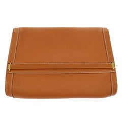 Hermes Cognac Leather Toiletry Travel Vanity Travel Evening Clutch Bag