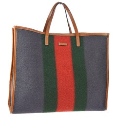 Gucci Wool Red Blue Green Leather Large Men's Women's Travel Carryall Tote Bag
