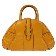 "Christian Dior Cognac Leather Gold ""D"" Charm Buckle Top Handle Satchel Bag"