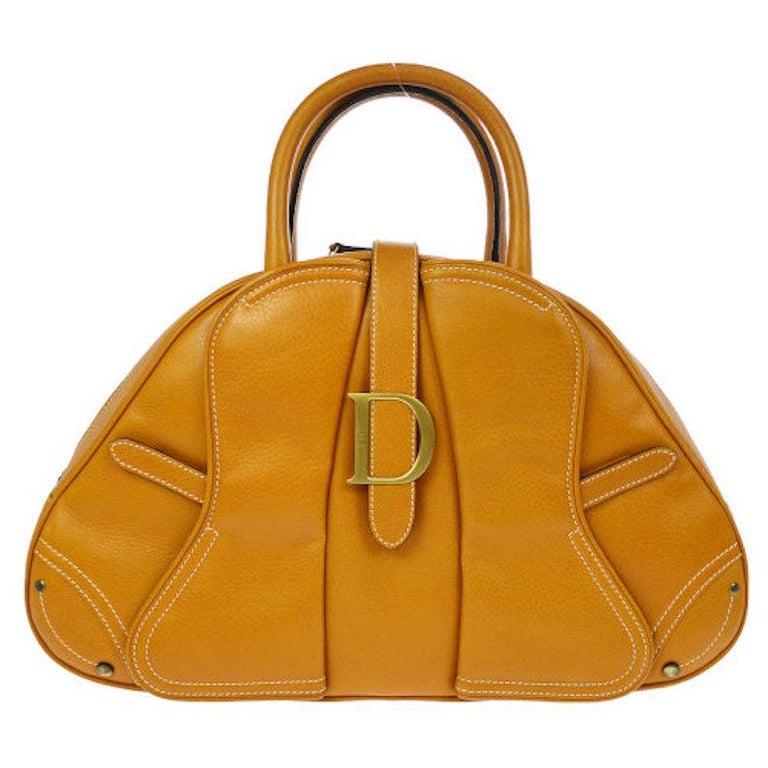 "Christian Dior Cognac Leather Gold ""D"" Charm Buckle Top Handle Satchel Bag For Sale"