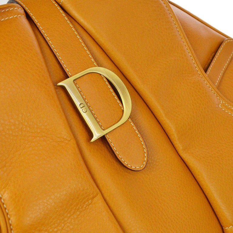 Christian Dior Cognac Leather Gold 'D' Charm Buckle Top Handle Satchel Bag  Leather Gold tone hardware Woven lining Made in Italy Handle drop 4