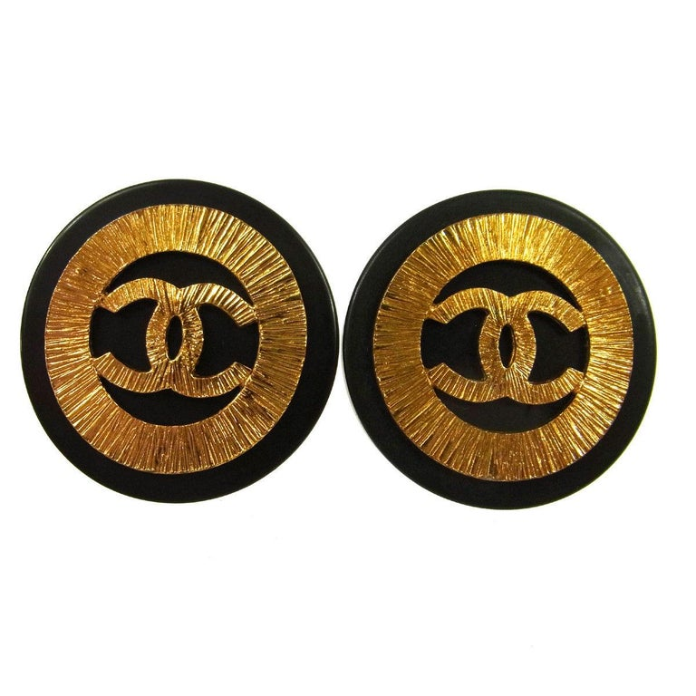 Chanel Black Gold Textured Starburst Charm Large Evening Button Stud Earrings For Sale