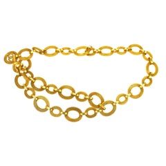 Chanel Gold Textured Oval Link Charm Evening Waist Belt