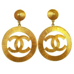 Chanel Gold Large Charm CC Hoop Dangle Drop Evening Earrings